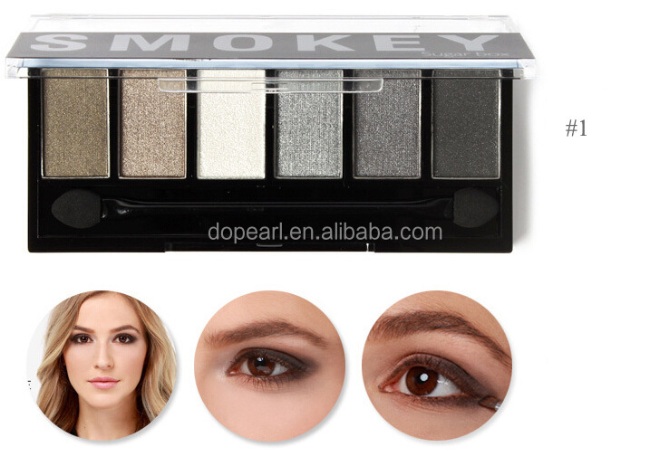 makeup multi colored 6 color smoky eyeshadow palette