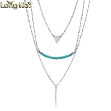 Simple Layered Silver Chain <strong>Necklace</strong> with Triangle Metal and Turquoise Beads Long Strip Pendants