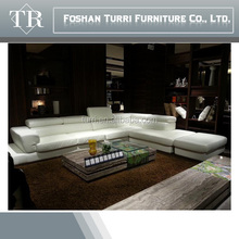 2015 Modern big white leather corner half round leather sofa