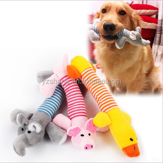 Cute Dog Toys Pet Puppy Chew Squeaker Squeaky Plush ,Duck & Pig & Elephant Toys 3 Designs