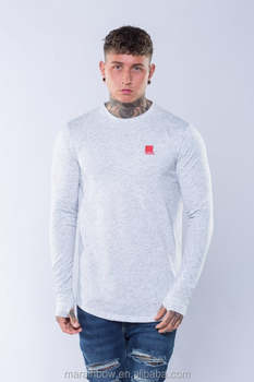 White Twill Mens Longline Curved Hem T Shirt Long Sleeve T Shirt with Thumb hole OEM 95% Cotton 5% Elastane T Shirt