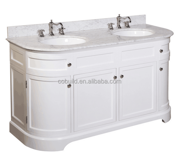 "KC-09 60"" Traditional bathroom metal cabinet, double sink solid wood bathroom cabinet with marble countertop"
