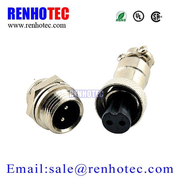 2 Pin Male & Female Screw Aviation Connector GX12 Circular Connector Socket Plug