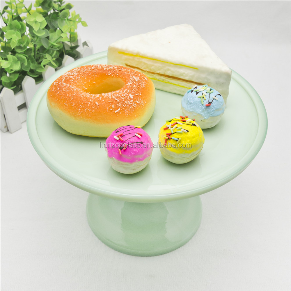 Mini green cake cup cake stands glass cake holder Chinese factory