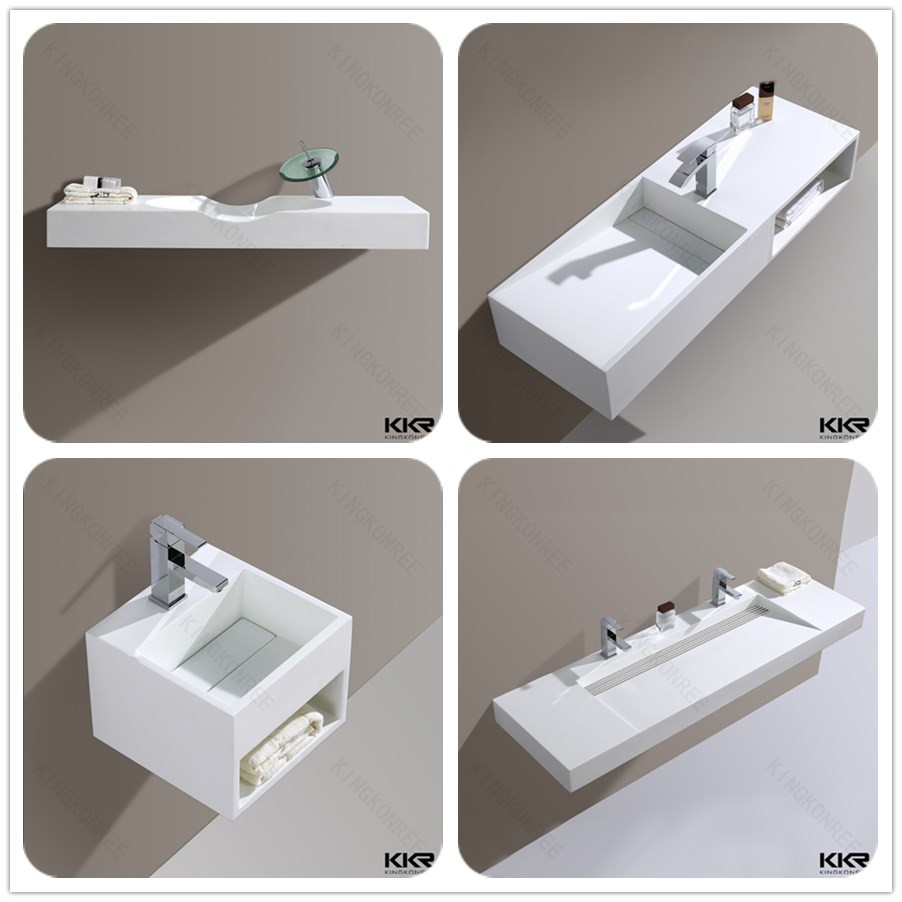 commercial bathroom trough sinks with two faucets