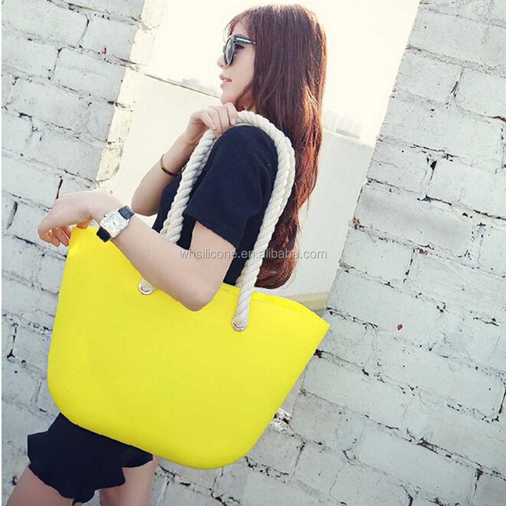 Candy Color Women Silicone Bag Casual Tote Beach Purses Silica Gel Handbag Rope Handle Italian O Bag Obag Style