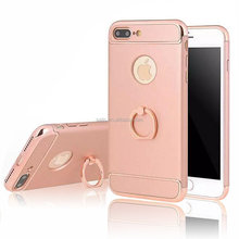 Ultra-thin Electroplate Metal Texture PC Hard Back Case Cover with metal ring for iPhone 7