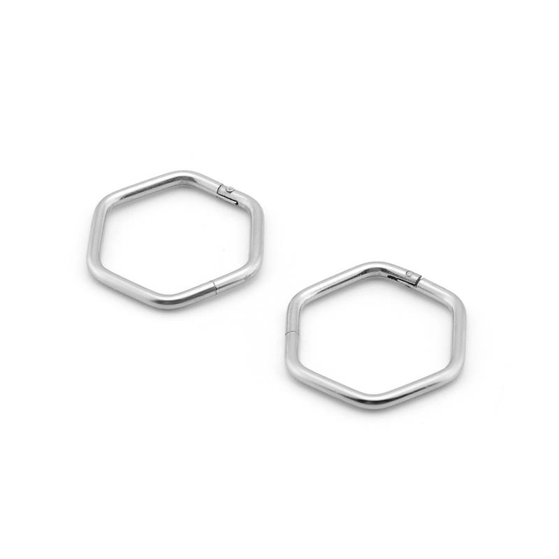 New arrival surgical steel nose ring piercing jewelry hexagon hinged segment rings