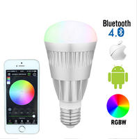 E27 10w rgbw rgbww bluetooth 4.0 led bulb,smartphone control 16million colors,wireless magic color light dimmable lamp AC85-265v