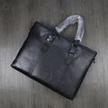 Genuine leather briefcase mens business document laptop bag for men with strap