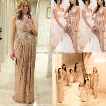 2015 Rose Gold Sequins Bridesmaid Dresses V Neck A Line Floor Length Maid Of Honor Gold Bling Long Plus Size BD241