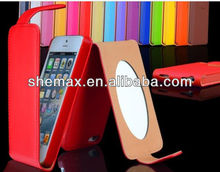 For Iphone 5 2013 New Product Top Flip Leather Case /cover/Holster with mirror