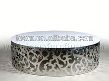 2014 Divany neo-classical 5 -star hotel luxury stainless steel round coffee table LS-840