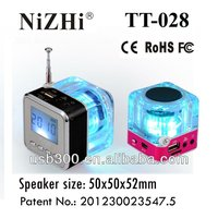 NiZHi Multimedia Mp3 Player Speaker TT028 With FM Antenna,LCD Display And Fantastic Led Flashing Lights