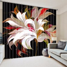 Modern Decorative Custom 3D Digital Print Flower Blackout Window Curtain