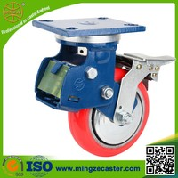 Heavy duty spring loaded height adjustable locking caster wheels