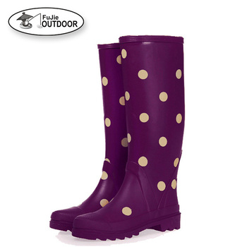 Women's Stylish Long Rubber Rain Wellies Boots