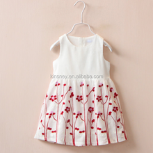 KS10163G 2016 summer kids vest cooton dress with flower embroidery india boutique wholesale dress