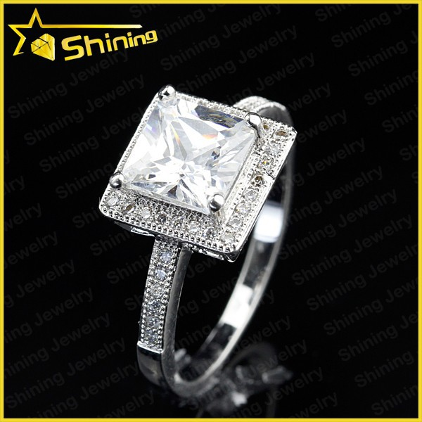 silver 925 stamped cubic zirconia western style engagement rings ring