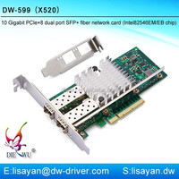 Best selling 10 gigabit dual sfp pci express ethernet network card adapter