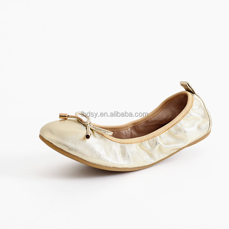 Good quality non-slip office top women casual shoesroll up flats wholesale