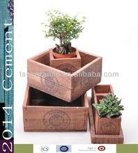 cement wooden flower pot with stamp
