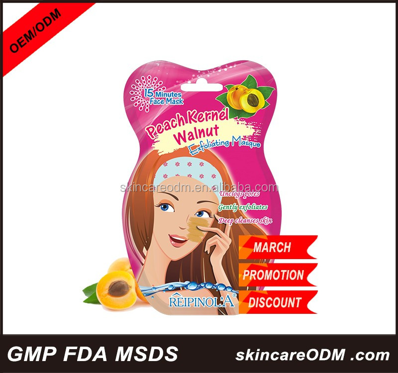 Peach kernael walnut exfoliating masque beauty products oem odm skin care face mask