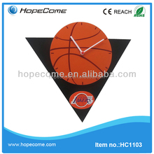 (HC1103)triangle plastic frameless wall clock with basketball picture