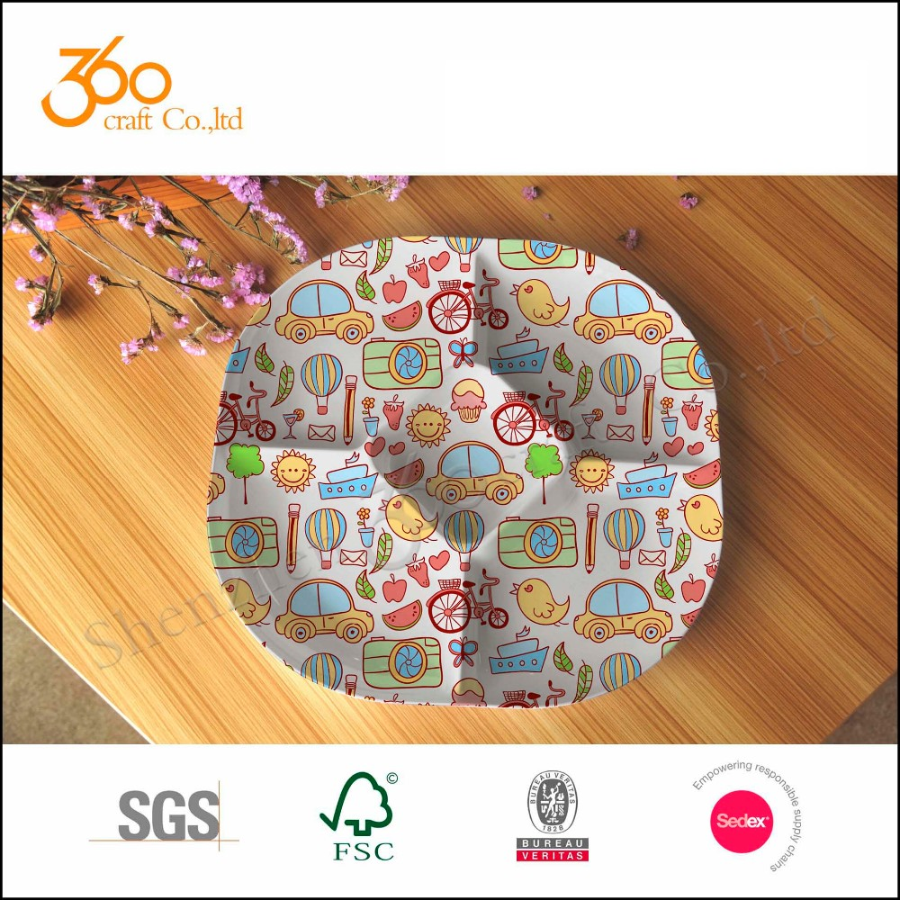 Popular Design Melamine 4 Section Divided Plate Section Tray