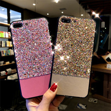 Factory Price Bling Bling Glitter Acrylic PU Leather Case Cover for iPhone 7/8 Plus