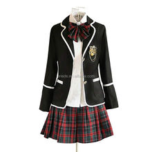 Women School Sailor Uniform Long Sleeve Suit Coat Blouse Skirt 3pcs Set