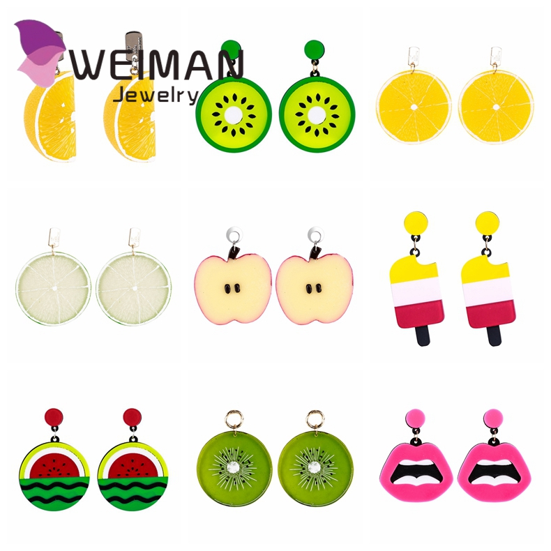 New arrival women pretty wholesale handmade bohemian cut cartoon fruit <strong>earrings</strong> for party