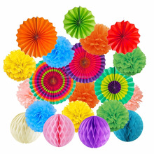 Colorful Hanging Paper Fans Tissue Paper Pom Poms Flower and Honeycomb Balls for Birthday Wedding Festival Christmas Decorations