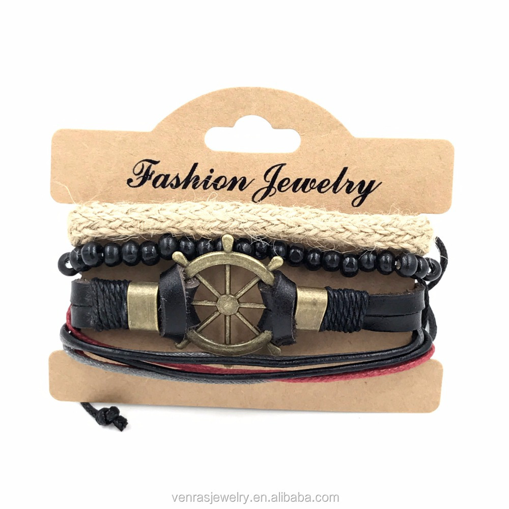 Boho Style Personalised Wheel Charm Woven Friendship Bracelets with Leather and Wood Beads