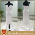ASAP-02 Sparkly V-neck White Sequin Evening Gown with Ruffles Split Side Detachable Straps Evening Dresses