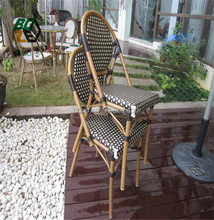 Outdoor Garden Furniture metal Bamboo Looking French Bistro Patio Wicker Rattan Chair