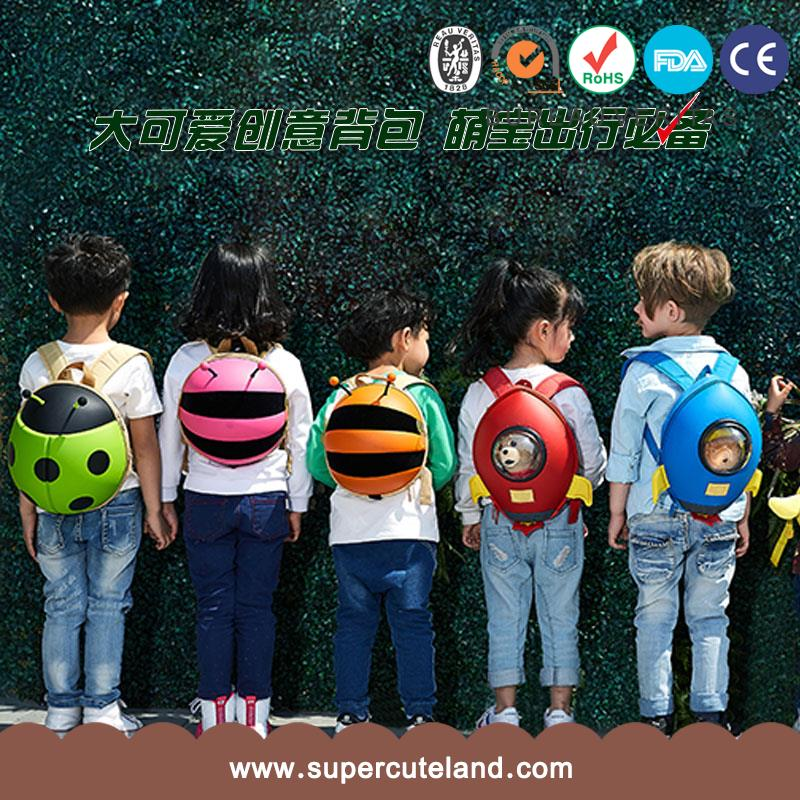 3D printing bee shape school bags EVA Bumble bee Green kids animal backpack For gifts