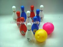 wholesale price kids play toys 10 inch 10 Pin 2 ball colorful Bowling set