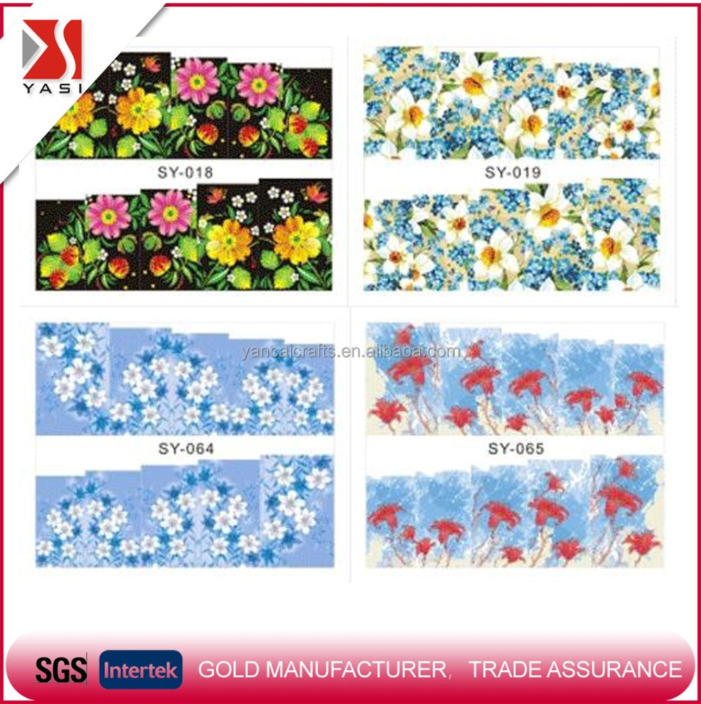 Nail polish gel wraps new fashion high quality 2D water transfer printing stickers&decals waterproof for decoration XF/SY
