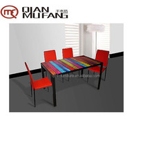 colorful painting glass top large dining room table kitchen dining sets