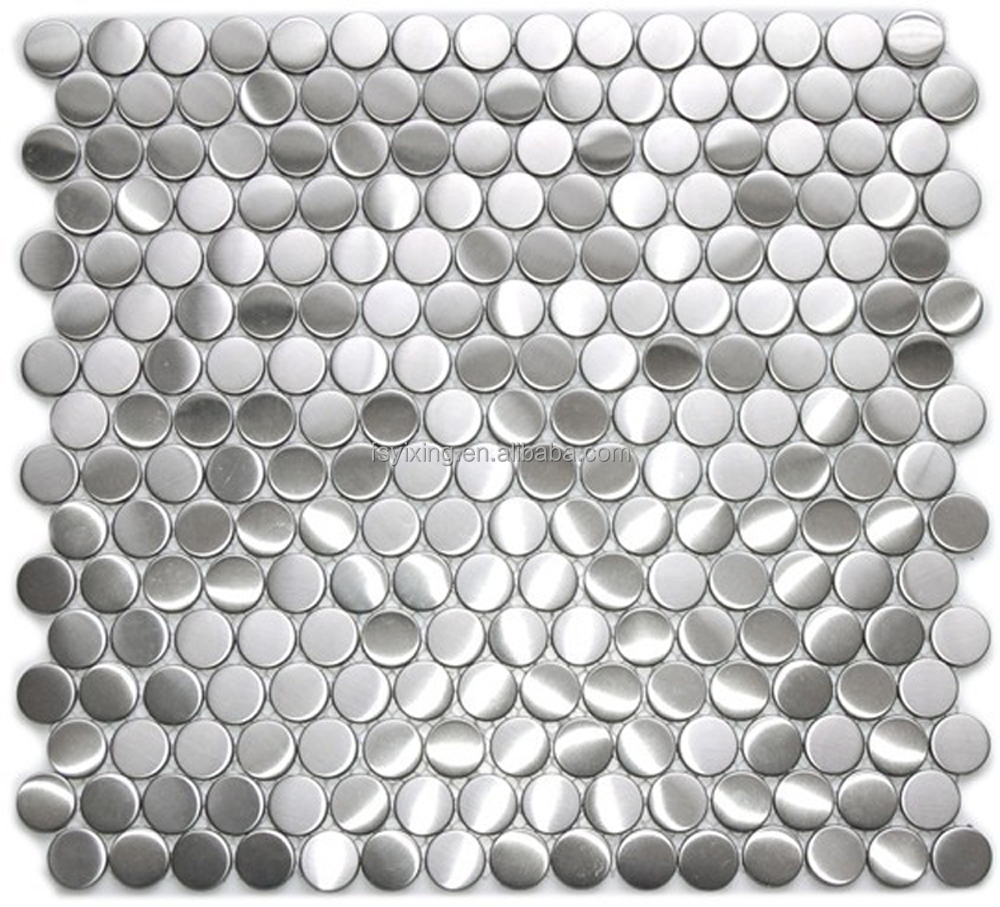 Penny mosaic metal tile and penny round iridescent glass wall and flooring tile