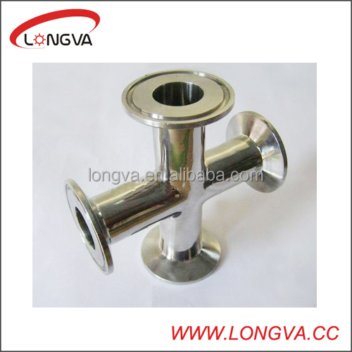 stainless steel 304 equal clamped cross pipe fitting