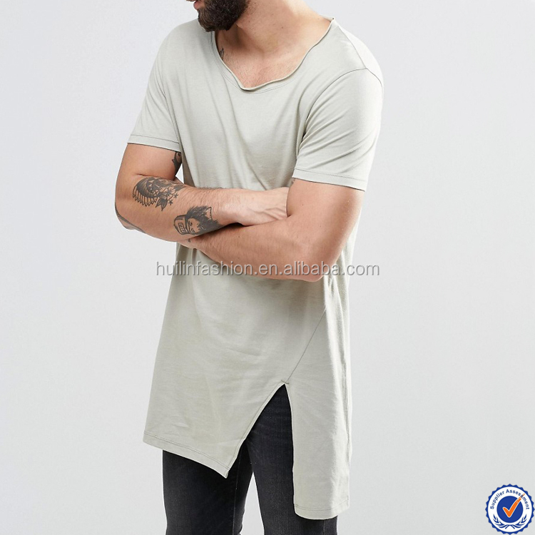 wholesale mens super longline t shirt with split hem and raw finish neckline