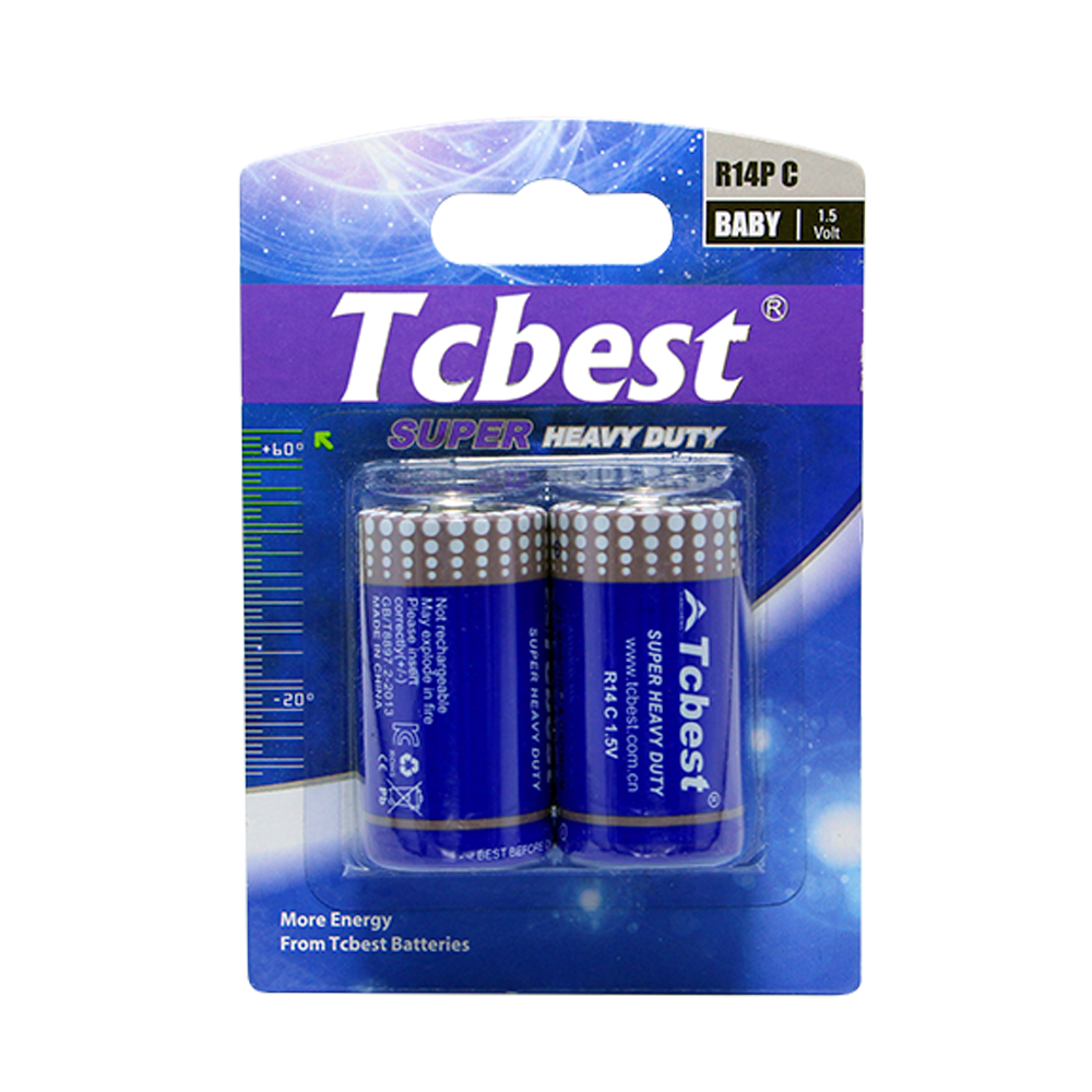 battery carbon zinc battery 1.5v r14p c size, dry battery for oem&odm from Tcbest/
