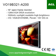 19 inch sxga+ industrial grade 1000nits high brightness led open frame custom lcd display monitor