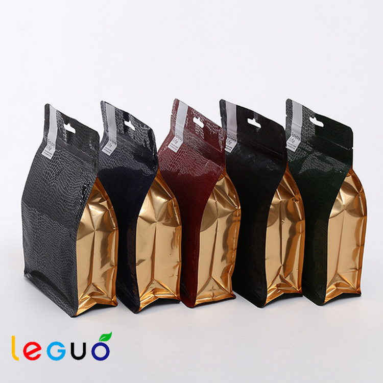 Flat bottom stand up pouch with gravure printing coffee bag packaging