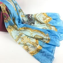 Light weight printed custom classic long silk scarf factory china