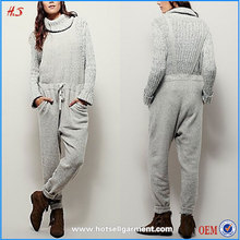 Best selling clothes made in china luxuriously soft and cozy sweater grey jumpsuits ladies jumpsuit