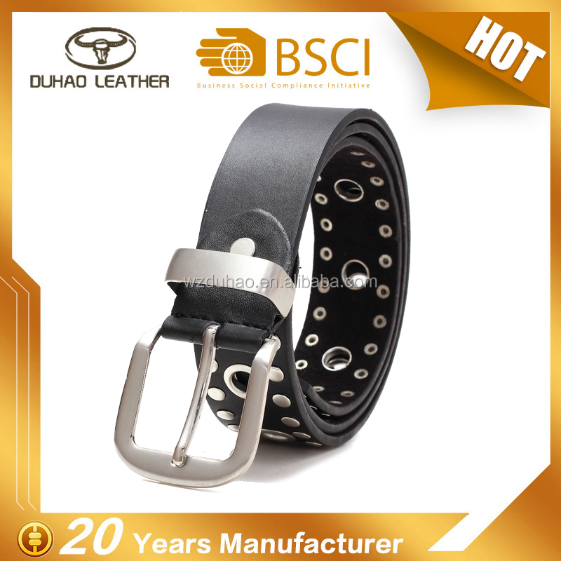 Handmade black male pu leather fashion rivets belt with pin buckle
