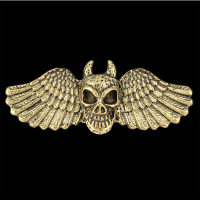 Promotion ! Punk Style Vintage Bronze Skull With Angel Wings Female Double Ajustedable Finger Ring for Men & Women